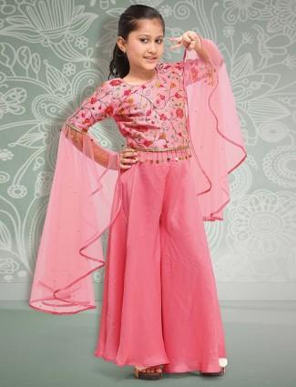 Pink hued girls designer punjabi palazzo suit