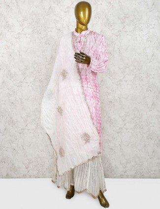 Pink hued printed cotton festive punjabi sharara suit