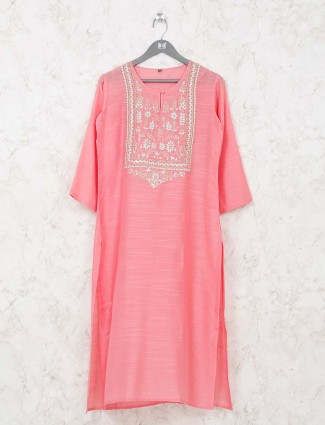 Pink kurti in cotton fabric
