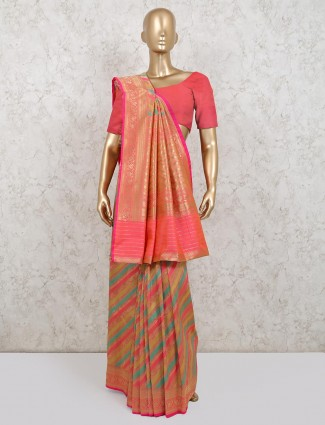 Pink latest designer banarasi silk saree