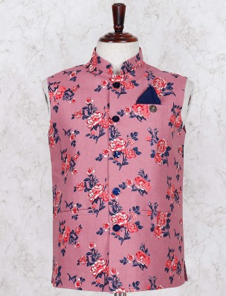 Pink linen printed linen waistcoat