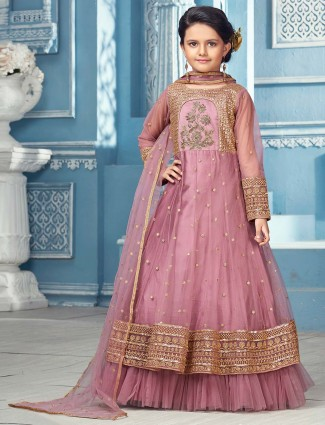 Pink net fabric designer wedding anarkali suit