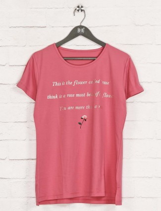 Pink printed cotton top in casual