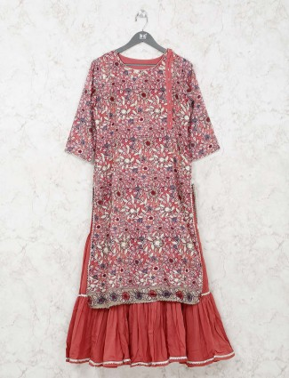 Pink printed kurti in cotton