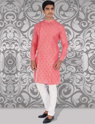 Pink printed pattern cotton kurta suit for party