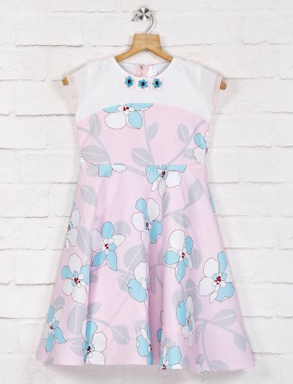 Pink printed sleeveless pattern frock