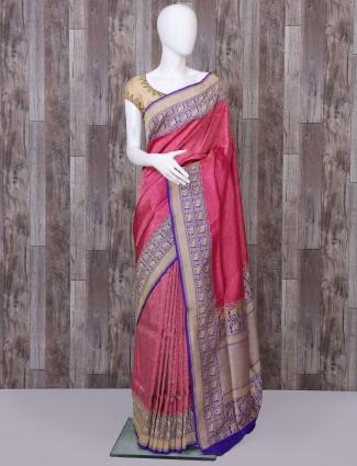 Pink pure banarasi silk paithani saree