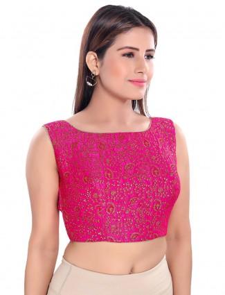 Pink raw silk brocade readymade blouse