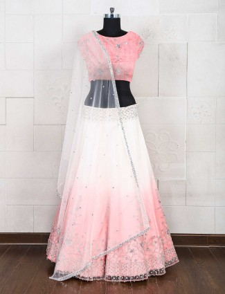 Pink raw silk semi stitched lehenga choli