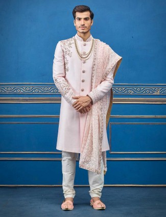 Pink raw silk sherwani for groom