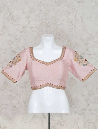 Pink ready made raw silk blouse