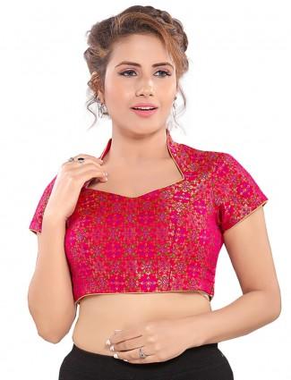 Pink semi silk brocade readymade blouse