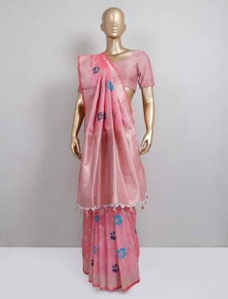 Pink semi silk festive designer sari