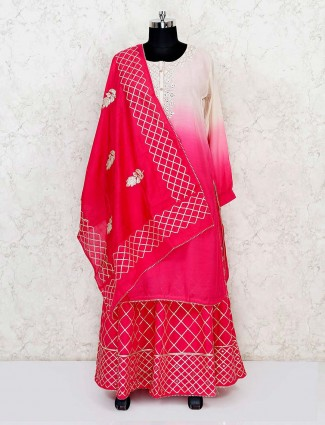 Pink shaded kurti with lehenga in georgette