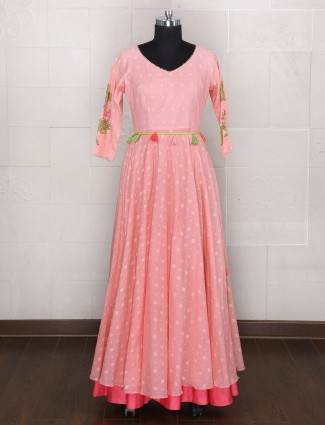 Pink silk designer gown style dress
