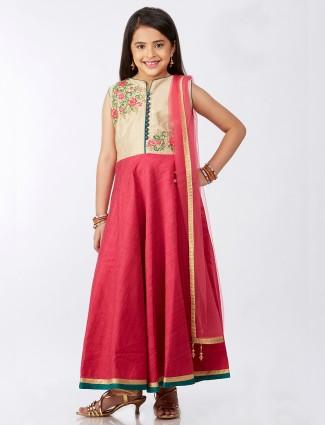 pink silk long graceful anarkali suit