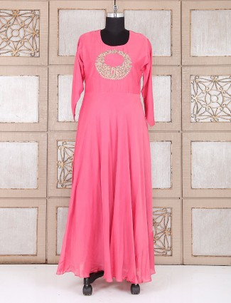 Pink silk long kurti