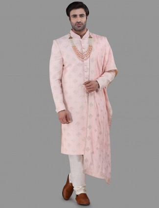 Pink silk sherwani wedding wear