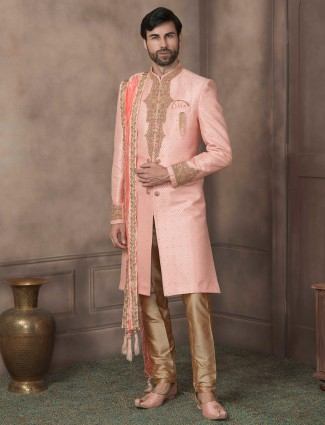 Pink silk wedding sherwani for groom