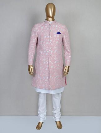 Pink silk wedding wear mens indo western for wedding