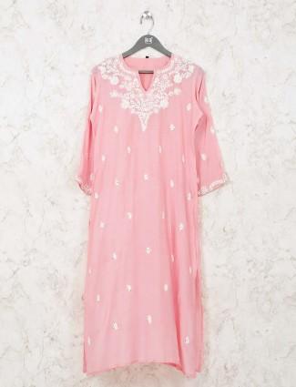 Pink simple kurti in cotton