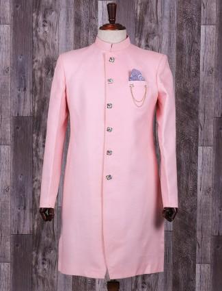 Pink solid silk wedding wear indo western