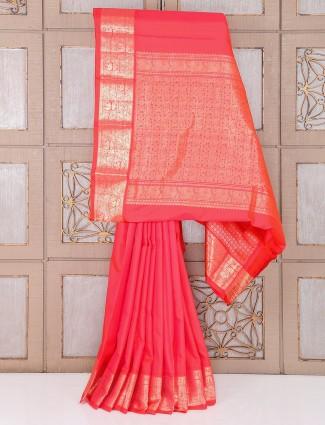 Pink south handloom pure silk saree