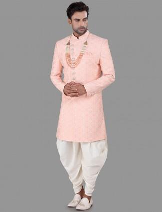 Pink thread work silk indo western for mens