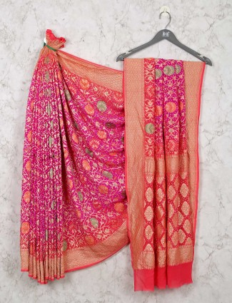 Pink wedding bandhej saree for wedding