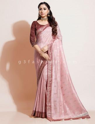 Pink wedding dola silk saree