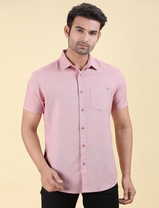 Pioneer solid light pink cotton shirt
