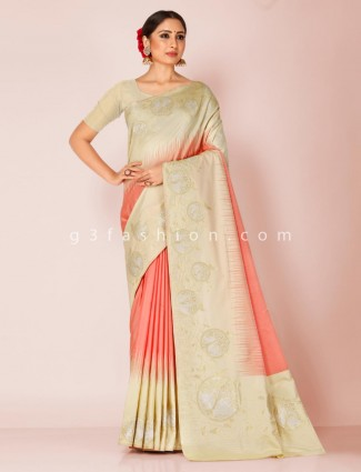 Pista and peach art silk adorable saree