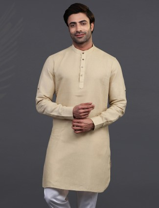 Pista beige linen full sleeeves kurta