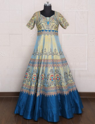 Pista green blue silk wedding wear gown