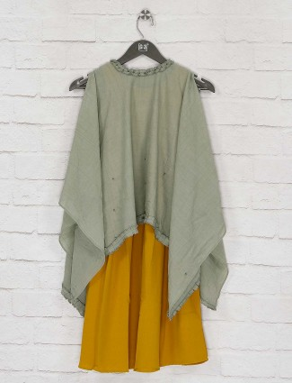 Pista green cape top and yellow hue kurti dress