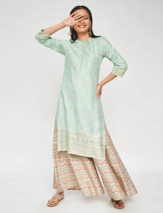 Pista green casual kurti for women