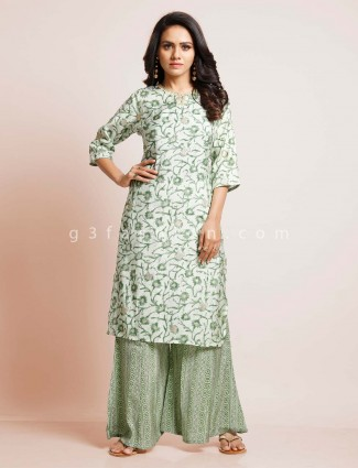 Pista green cotton palazzo suit in cotton
