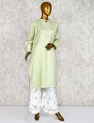 Pista green cotton punjabi palazzo set