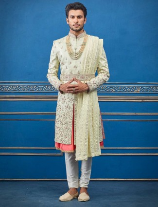 Pista green double layer silk sherwani for groom