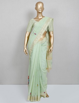 Pista green embroidered saree for festive