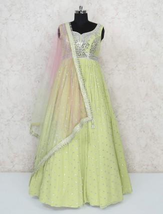 Pista green floor length designer georgette gown