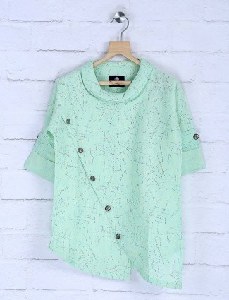 Pista green hued cotton printed short kurta