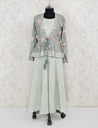 Pista green jacket style cotton silk salwar suit