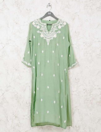 Pista green keyhole neck cotton kurti