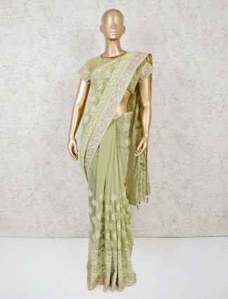 Pista green lucknowi saree with readymade blouse