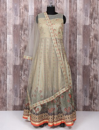 Pista green net anarkali suit for wedding function