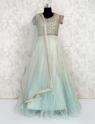 Pista green net gown