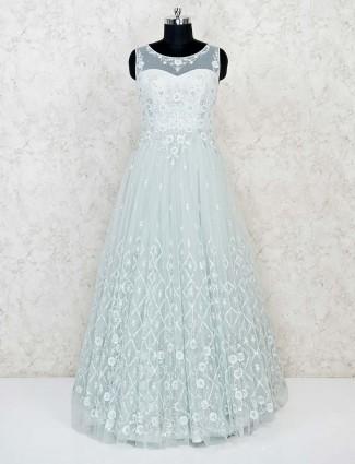 Pista green net wedding wear floor length gown