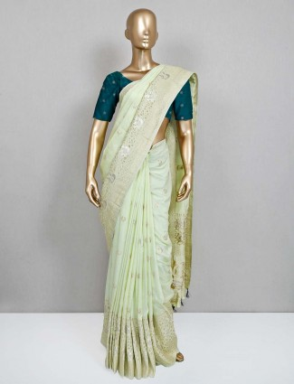Pista green party wear saree for wedding