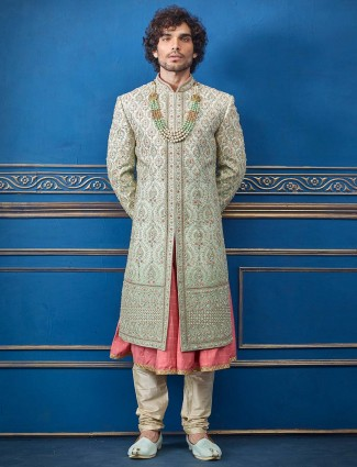 Pista green pink silk groom wear sherwani